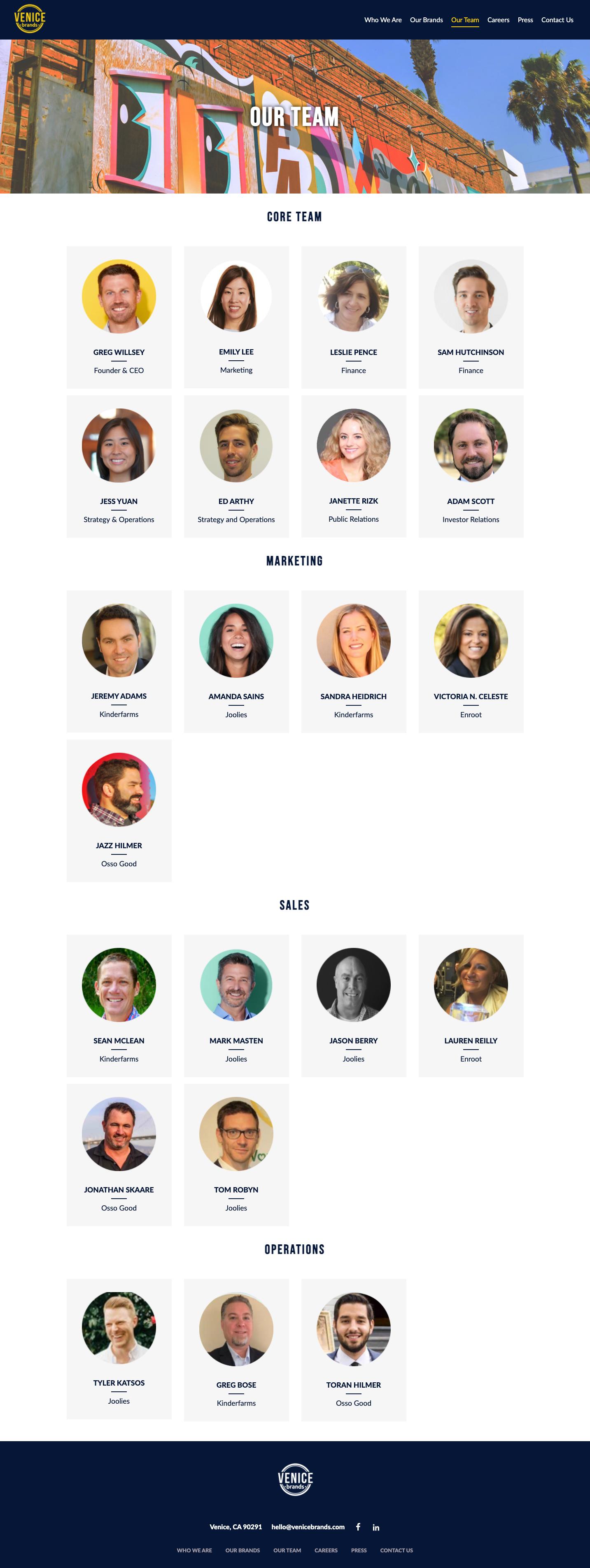 Venice Brands Team Page